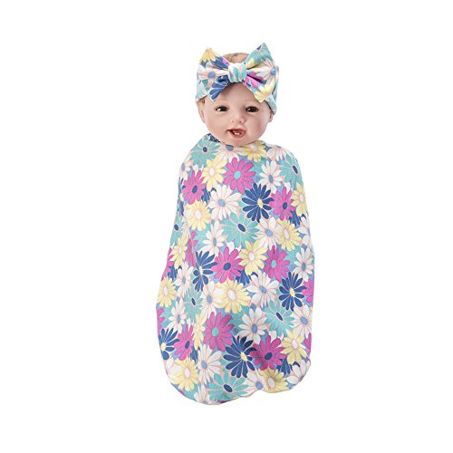 Baby Blankets for Boys & Girls,Newborn Lovely Beautiful Sleep Receiving Blankets  Swaddle Blankets with Gift Headband - Flower