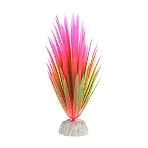 LANDUM Artificial Plastic Plant Narcissus Water Grass Fish Tank Aquarium Decor Ornament Pink 14 cm 17