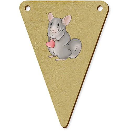 5 x 70mm 'Chinchilla Holding A Heart' Wooden Bunting Flags