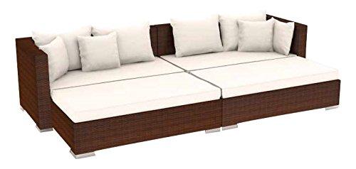 Artelia Safira Rattan Couch, Gartenmöbel-Set für Garten, Balkon, Wintergarten und Terrasse, Sitzgruppe Couch braun
