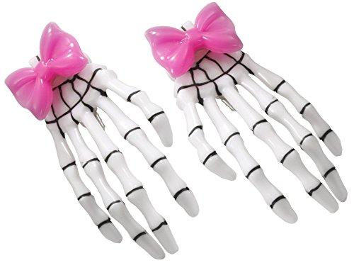 Forum Novelties Women's Skeleton Hands Bow Clip-Pink, -