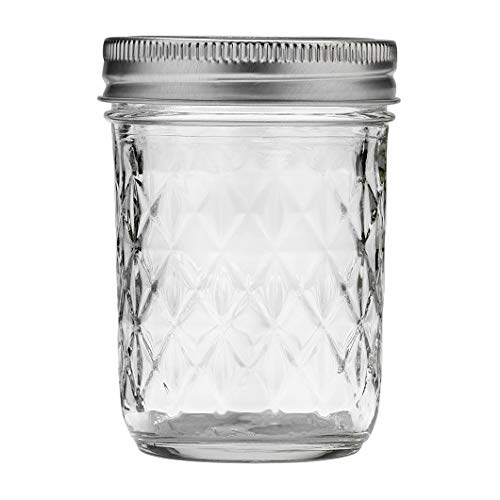 Ball Quilted Crystal Regular Mouth Half-Pint 8 Oz. Glass Mason Jars with Lids and Bands, 12 Count -