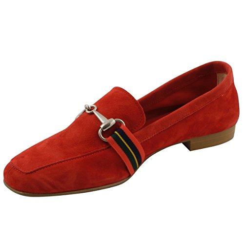 Exclusif Paris Women's Loafer Flats Red QWxj32