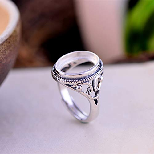Ring Blank (10x14mm Oval Blank) Adjustable Thai Sterling Silver Ring Base Filigree Oval Cabochon Ring Setting R346B