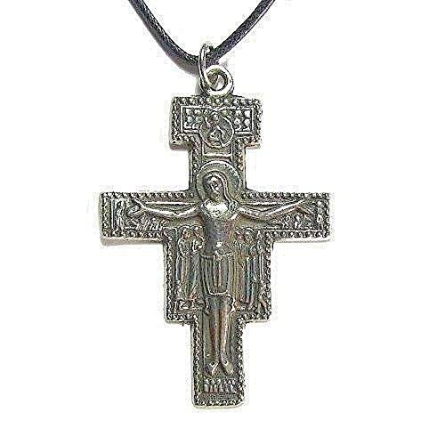 Creative Ventures Jewelry Cross of San Damiano Pewter Pendant with Cord ()