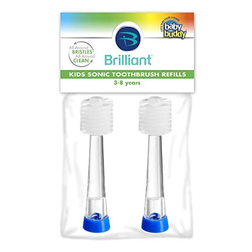 Brilliant Kids Sonic Toothbrush by Baby Buddy - Replacement Heads, Blue, 2 Count