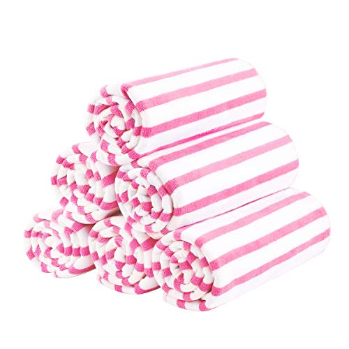 """JML Microfiber Bath Towel, Beach Towels (6 Pack, 27"""" x 55"""") - Cabana Stripe - Multi Purpose Towels for Pool, Sport, Yoga, Camping, Swimming, Pink"""