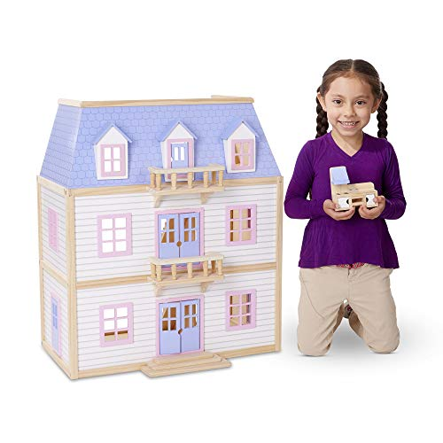 "Melissa & Doug Modern Wooden Multi-Level Dollhouse (Dolls & Dollhouses, 19 Pieces, White, 28"" H x 15.5"" W x 24"" L)"