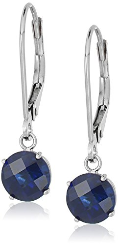 Sterling Silver Round Checkerboard Cut Created Blue Sapphire Leverback Earrings (6mm)
