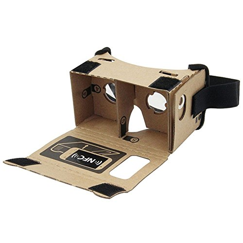 Sminiker Google Cardboard 3d movies Virtual Reality DIY 3D Glasses for Smartphone with NFC and Headband,Google Glasses with Lenses HD Visual Experience