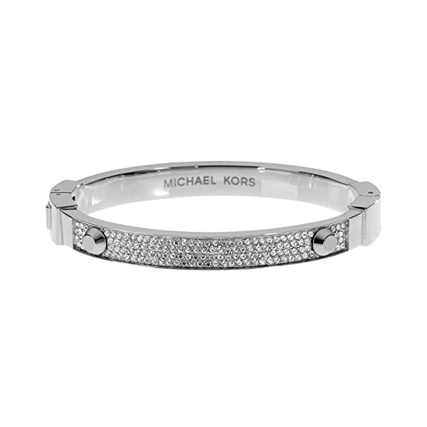 Michael-Kors-Studded-Pave-Bangle-BraceletSilvertone-Silver