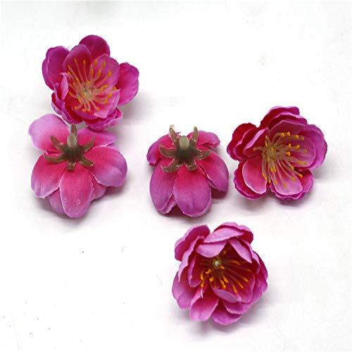 20 Pcs/Lot Artificial Simulation Cherry Blossom Artificial Flower Wedding Car Decoration Handmade Bride's Bouquet Silk Flower Rose Red