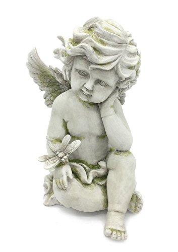 FICITI G120896 Cherub Angel with Dragonfly Garden Statue, Moss, 9.5