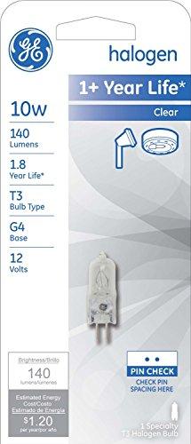 Ge Quartz Halogen Display Light Bulb 10 W 140 Lumens T3 G4 2-Pin Base 1-1/4 In. Clear Carded