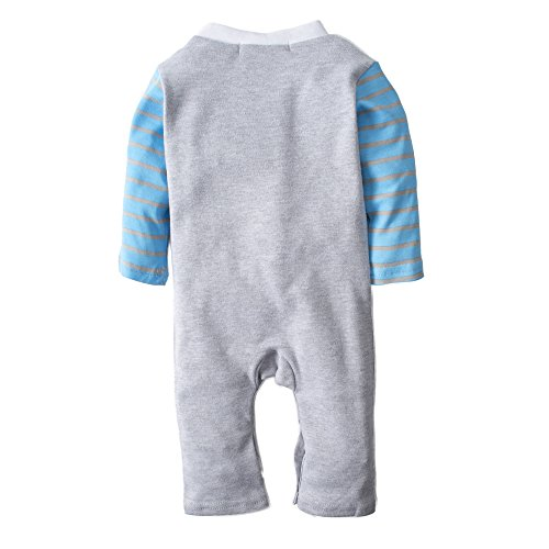 Big Elephant Baby Boys' 1 Piece Long Sleeve Gentle Romper Pajama with Bowtie, 100