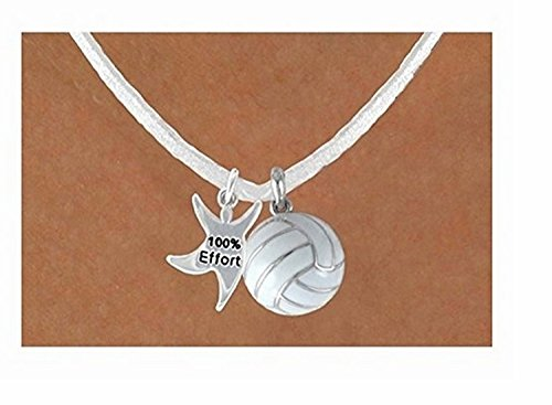 ''100% Effort'' Star Man & White Volleyball Necklace by Lonestar Jewelry