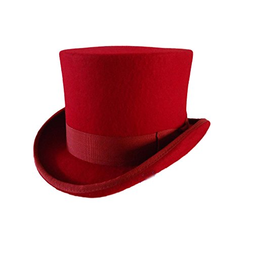 CHUANGLI Men's 100% Wool Victorian Mad Hatter Top Hat Vivi Magic Hat Performing Cap Wine Red ()