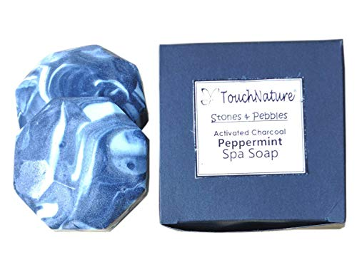 Touch Nature Handmade Soap. Natural Soap. 2 piece 50gm Hexagon Activated Charcoal Peppermint Soap.Free of Sulphates and Parabens. 100% Vegan and Cold Pressed.