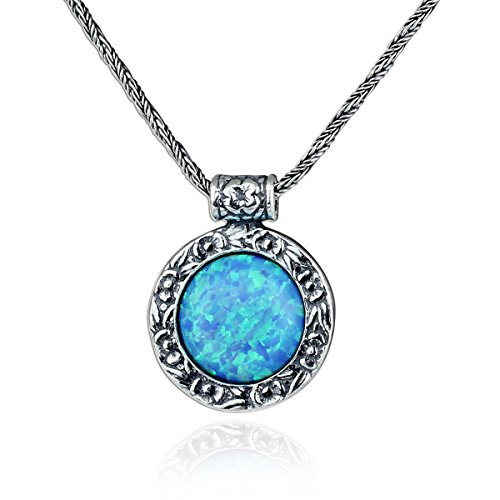 (Antique Look Created Blue Fire Opal Round Pendant with 925 Sterling Silver Twisted Foxtail Chain, 20