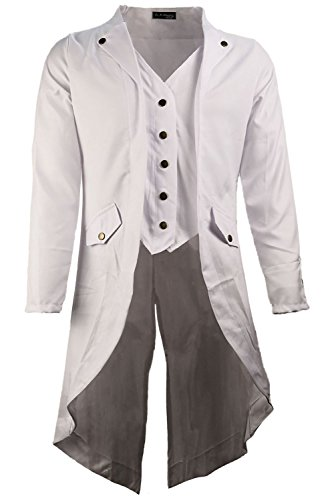 Mutrade Men Retro Solid Color Long Sleeve Steampunk Uniforms Gothic Tailcoat Jacket,XXXX-Large by Mutrade