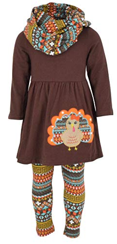 Unique Baby Girls 3 Piece Colorful Aztecan Thanksgiving Turkey Legging Set (5/L, Brown)