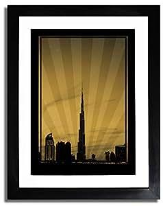 Dubai Skyline Down Town - Sepia No Text F07-m (a2) - Framed
