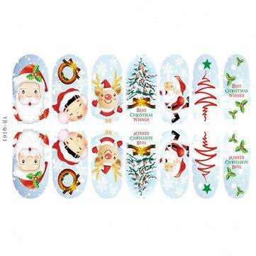 3D Christmas Tree Santa Claus Luminous Nail Full Stickers - Nail Art Nail Sticker - (YB-Q161) - 1 X 3D Christmas Nail Stickers