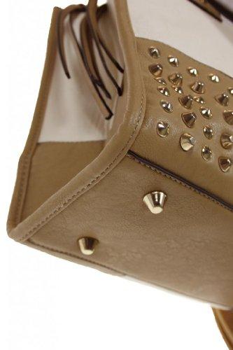 (2419) Bag cinghia di pelle borchiata spalla Imitazione