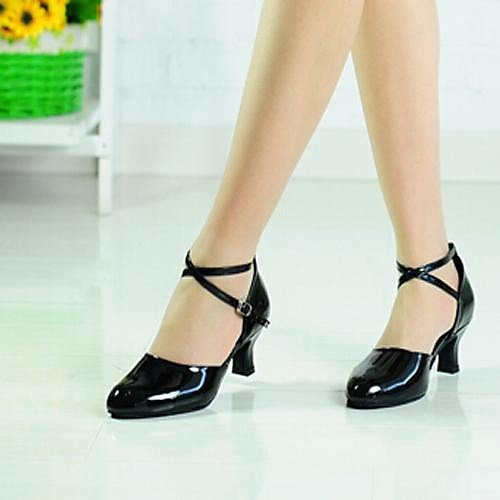 Leatherette Black Strap Modern Ankle T T Dance Women's Shoes Q Black 7fSxPtnqw