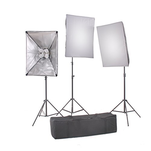 StudioFX 2400 WATT Digital Photography Continuous Softbox Lighting Studio Video Portrait Kit CH9004S3 by Kaezi