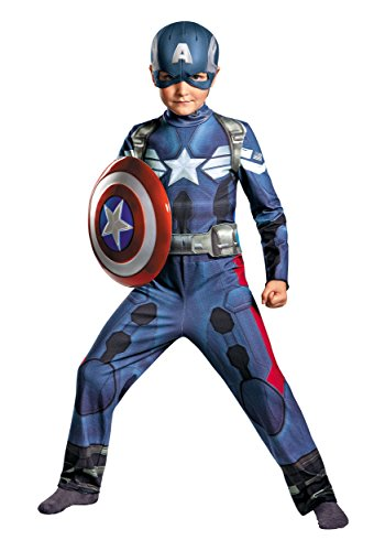 Disguise Marvel Captain America The Winter Soldier Movie 2 Captain America Classic Boys Costume, Small (Kids Captain America Costume With Shield)