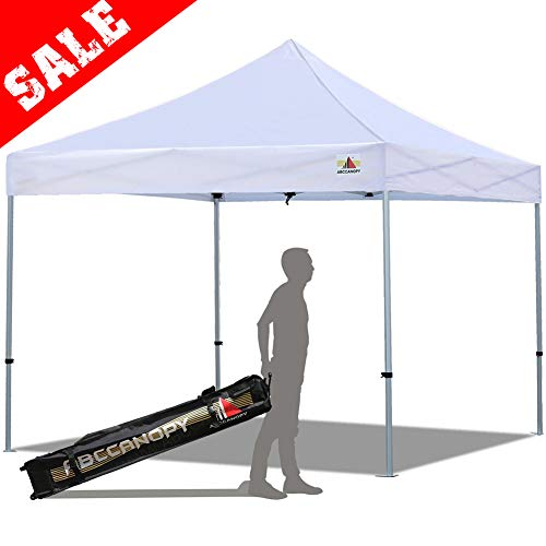(ABCCANOPY PRO-40 Easy Pop up Canopy Tent Commercial Instant Gazebos with Roller Bag and Weight Bag (10x10ft, Aluminum-White))