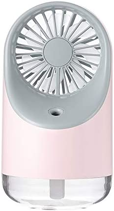 Color : Blue Electric Fans Support 3 Speed Control PIWIDHSKKAHa USB Fans Multi-Function USB Charging Spray Humidification Desktop Electric Fan with LED Warm Yellow Reading Lamp Pink