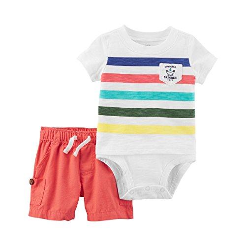 Carter's Baby Boy Official Bug Catcher Striped Bodysuit & Canvas Shorts Set (9 Months) ()