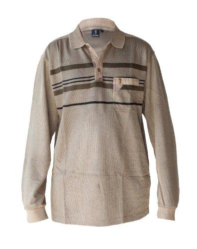 "Waooh - Fashion - Polo Mann Streifen ""Heddy"" - Braun - Größe L"
