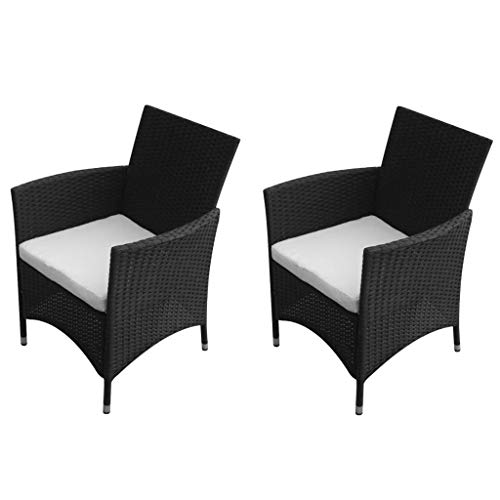 Festnight Set of 2 Garden Dining Chairs Black Poly Rattan Armrest Chair with Steel Frame Outdoor Patio Balcony Furniture Suit for Both Outdoor and Indoor 22.8″ x 24″ x 34.6″