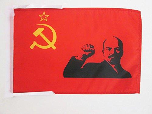AZ FLAG USSR with Lenin Raised fist Flag 18'' x 12'' Cords - Soviet Union Communist Small Flags 30 x 45cm - Banner 18x12 in