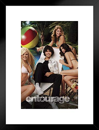 (Pyramid America Entourage Vincent Chaise Poolside with Sexy Beautiful Women in Bikinis Matted Framed Poster 20x26 inch)