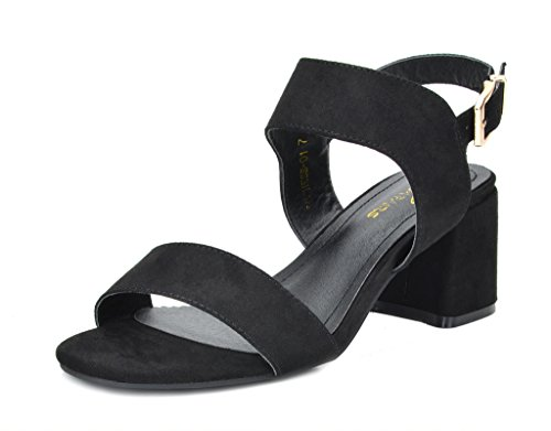 DREAM PAIRS Women's Duchess_01 Black Fashion Block Slingback Heeled Sandals Size 7 B(M) US