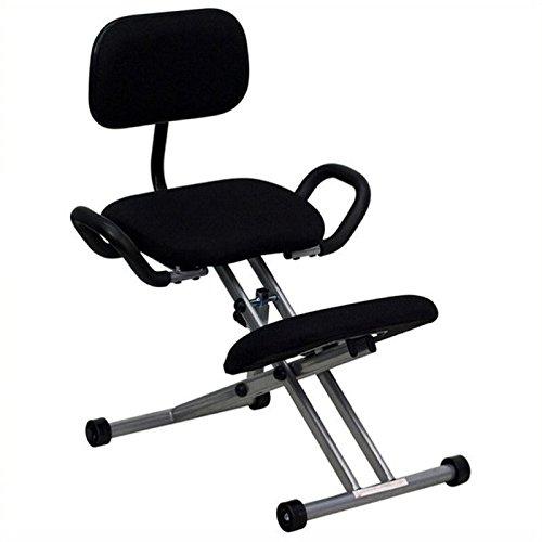 Scranton & Co Ergonomic Kneeling Office Chair in Black Fabric
