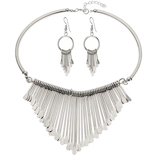 OASIS LAND Luxury Jewelry Set Wild Alloy Multi-Layer Tassel Simple Earrings Necklace Collar Set Ladies Jewelry