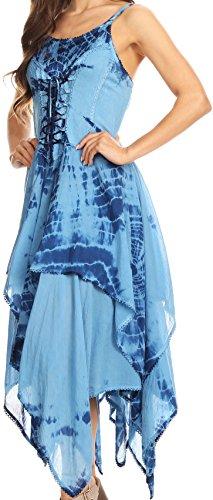 Amazon.com: Sakkas Annabella Corset Bodice Handkerchief Hem Dress ...