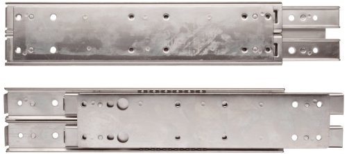 Sugastune ESR-5 304 Stainless Steel Drawer Slide, 3/4 Extension, Positive Stop, 22'' Closed, 16-47/64'' Travel, 207lbs/Pack (1 Pair) by LAMP by Sugatsune