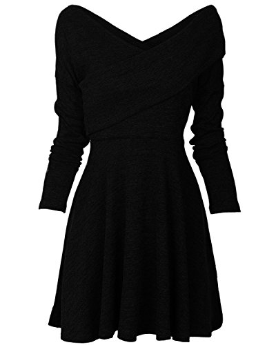 Tempt Me Women Casual Long Sleeve Surplice Wrap V Neck Swing Cocktail Midi Dress Black 1 - Surplice Cotton Dress