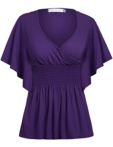 Beyove Women Slimming V-Neck Short Batwing Sleeve Smocked Empire Waist Tunic Top Pruple (Smocked Waist Tunic)