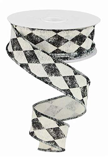 Harlequin Ribbon, Rustic Black and Ivory Wired Ribbon