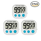 GuDoQi 3 Pack Digital Kitchen Timer 3.0 Inch LED Display Countdown Timer with Magnetic Bracket and Foldable Stand with Memory Function for Kitchen Cooking (White)
