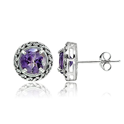 Sterling Silver Amethyst Round Oxidized Rope Stud (Silver Amethyst Rope)