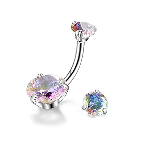 Gnoliew Belly Button Rings Round Cubic Zirconia Navel Barbell Stud Body Piercing (AB Color)