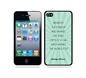 Marilyn Monroe Quote - Beneath The Makeup And Behind The Smile I Am Just A Girl Teal Rays iPhone 4 Case - For iPhone 4/4S/4G - Designer TPU Case Verizon AT&T Sprint wangjiang maoyi